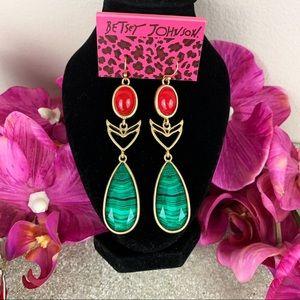 Betsey Johnson Blue Water Drop Earrings NWT
